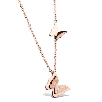 Butterfly Necklace - Rose Gold