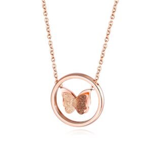 Ringed Butterfly Necklace - Rose Gold